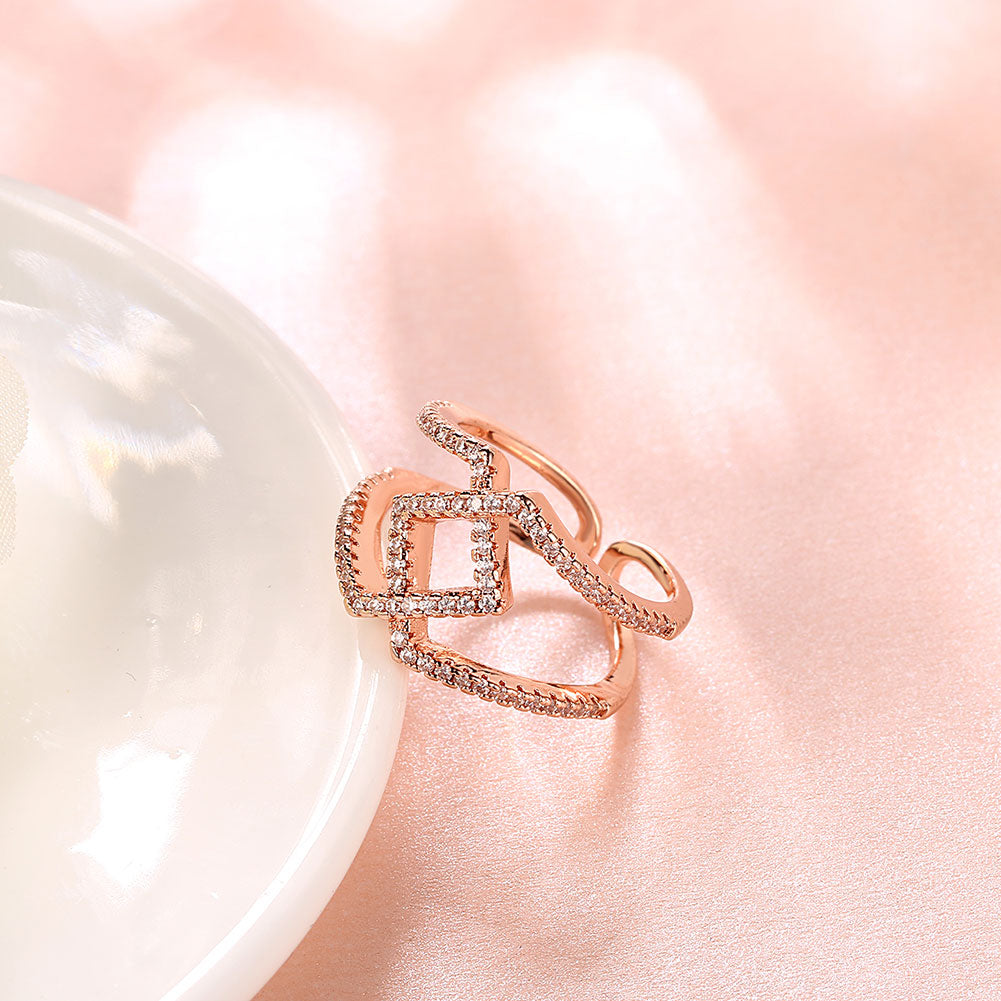 Fashion K gold open diamond ring plated rose gold plated jewelry ...