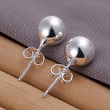 8M beads beads earring foreign trade spherical silver simple earrings E073