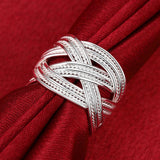 Large mesh ring Europe and the United States silver geometric open ring jewelry R024