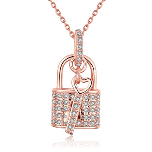 Fashion K gold sweet love heart lock zircon pendants AKN014