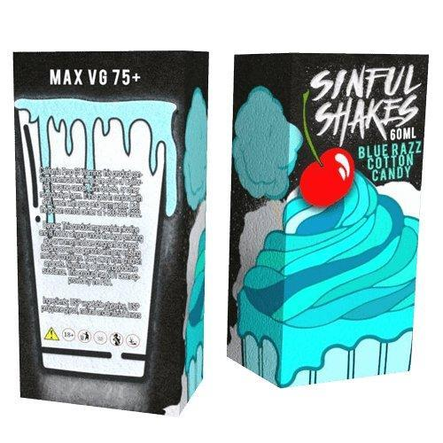 Sinful Shakes E-Liquid - Blue Razz Cotton Candy