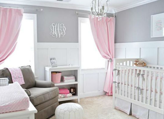 gorgeous pink nursery with white crib and pink drapes