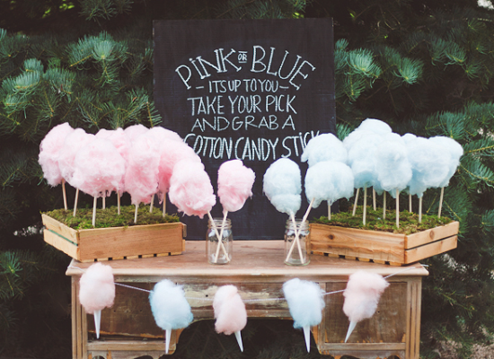 pink and blue cotton candy in a wooden stand