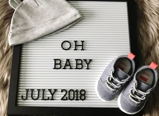 letter board baby announce due july 2018