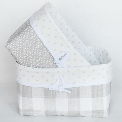 neutral soft grey plaid and pebble soft nursery baskets with stars