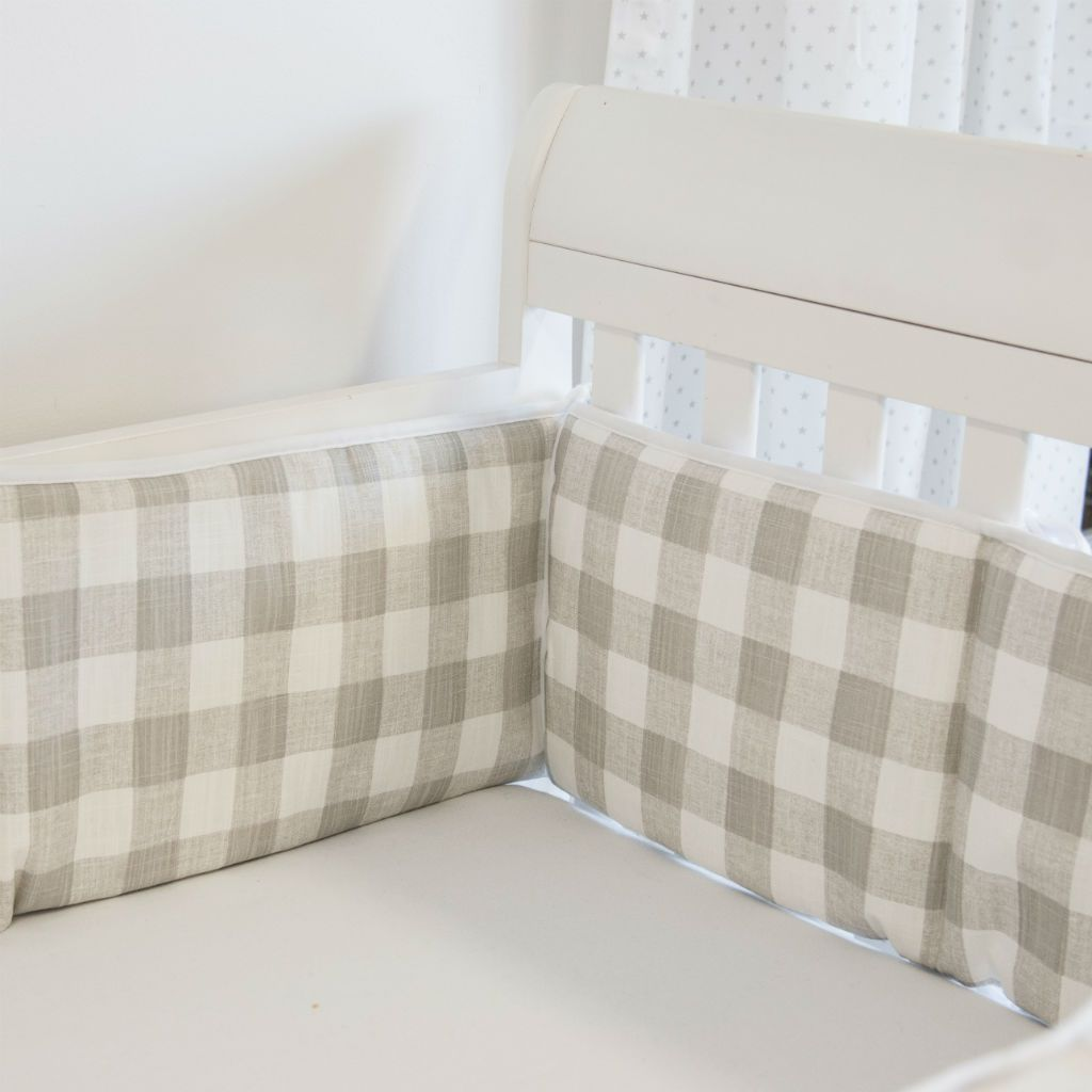 neutral soft grey plaid baby crib bumpers