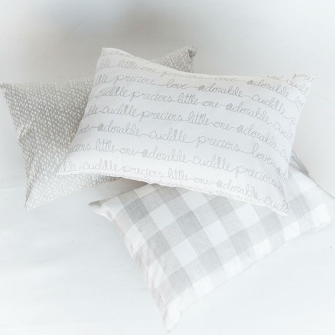 neutral soft grey hand written script, plaid, or pebble nursery lumbar pillows