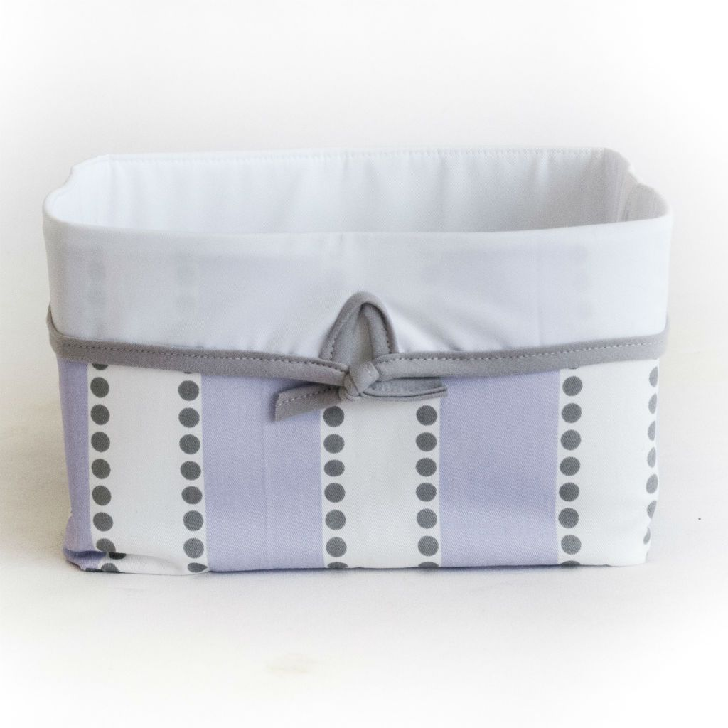 lilac purple grey dot stripe soft basket