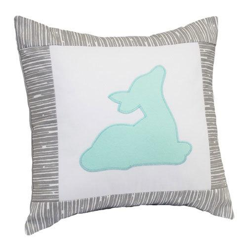 aqua colored deer on grey illow