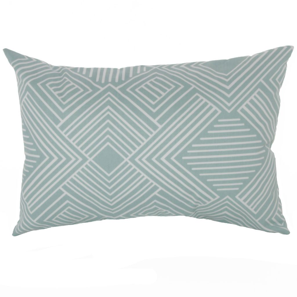 teal and white maze pattern lumbar pillow