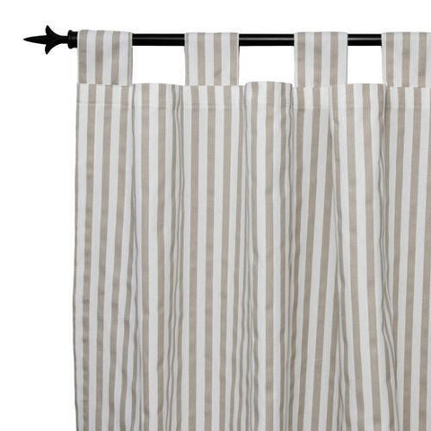 tan and grey thin striped drapes