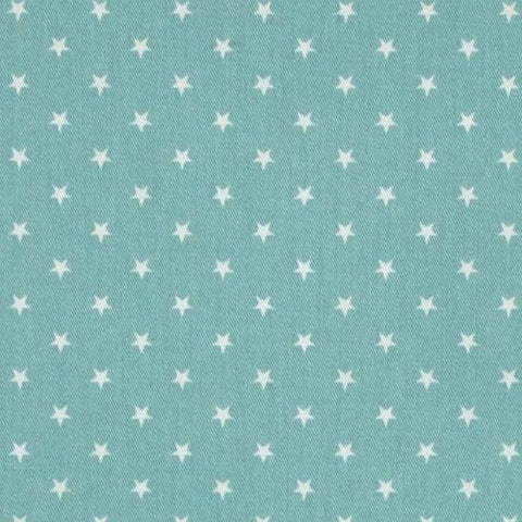 teal fabric with white star pattern