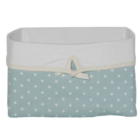 teal basket with mini star pattern and white bow