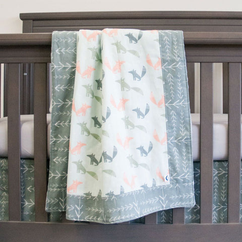 woodland fox wolf baby bedding set on grey crib