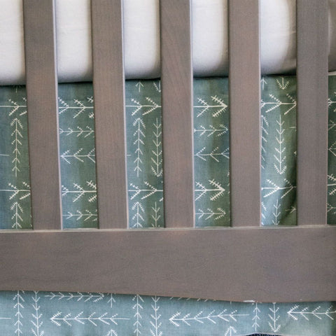 arrowhead baby crib skirt on grey crib