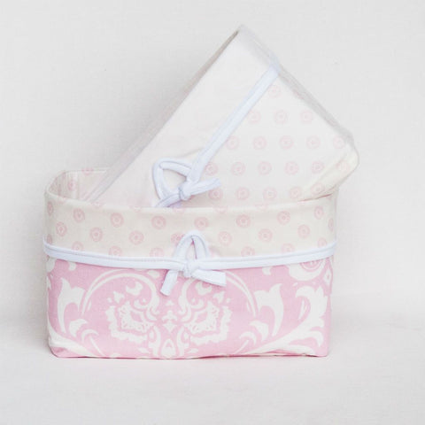 pink and white soft nursery baskets