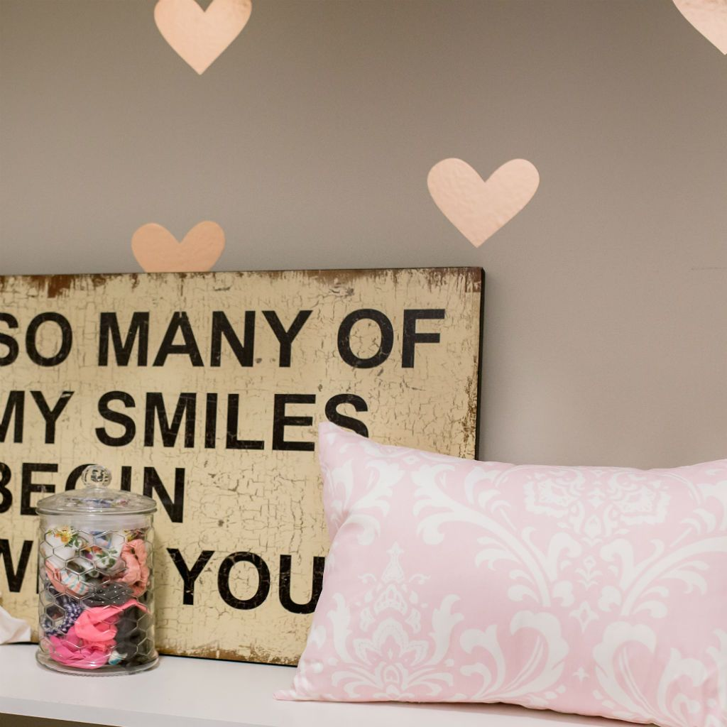pink and white lumbar pillow, and so many smiles begin with you art