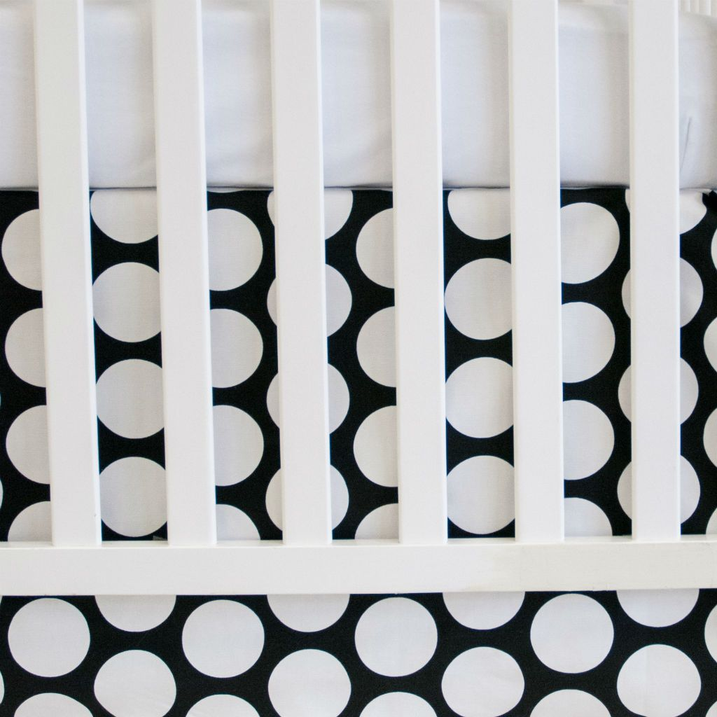 black and white big dot crib skirt with white forever crib skirt