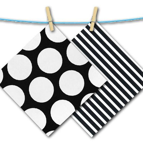 black and white big dot and stripe free fabric swatches