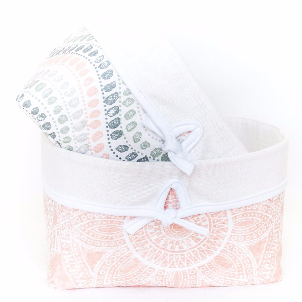 blush pink and jewel dot soft nursery baskets