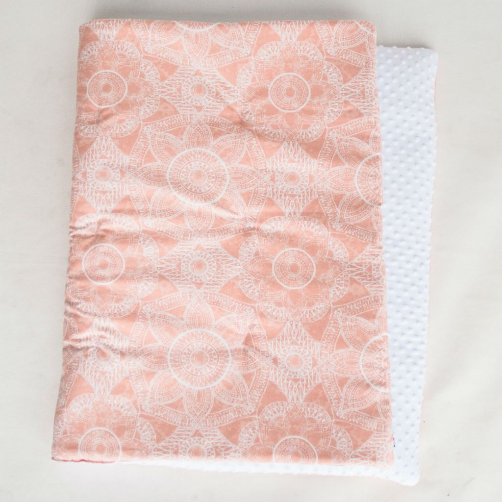 blush pink play blanket with white minky