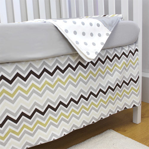 CHEVRON GREY Crib Skirt