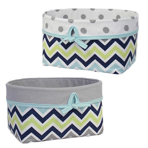 grey navy lime aqua chevron fabric baskets