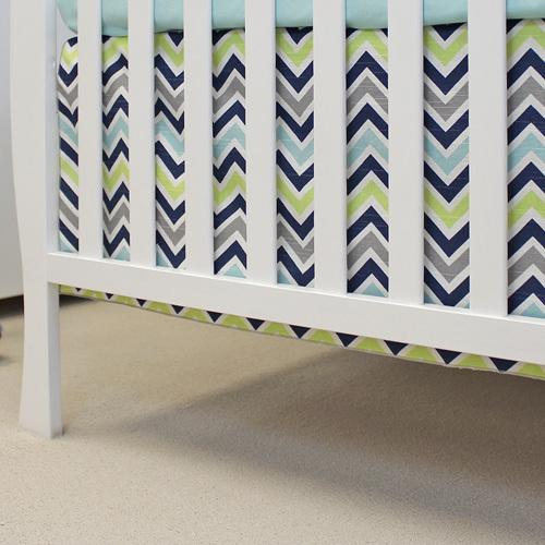 grey navy lime aqua chevron navy crib skirt close up