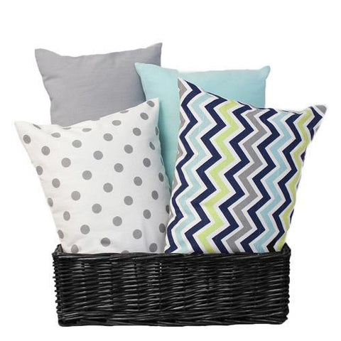 grey navy lime aqua chevron polka dot plain lumbar pillows