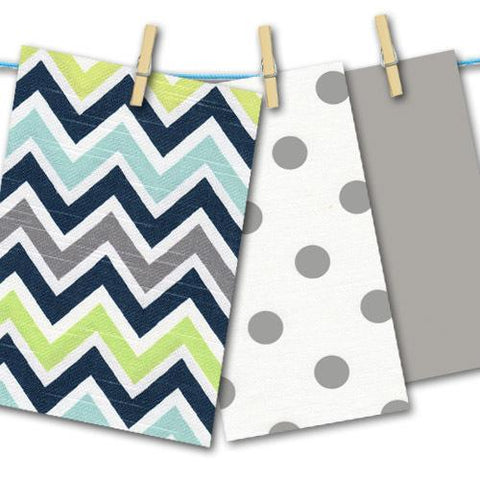 grey navy lime aqua chevron and polka dot fabric swatches