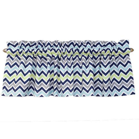 grey navy lime aqua chevron valance