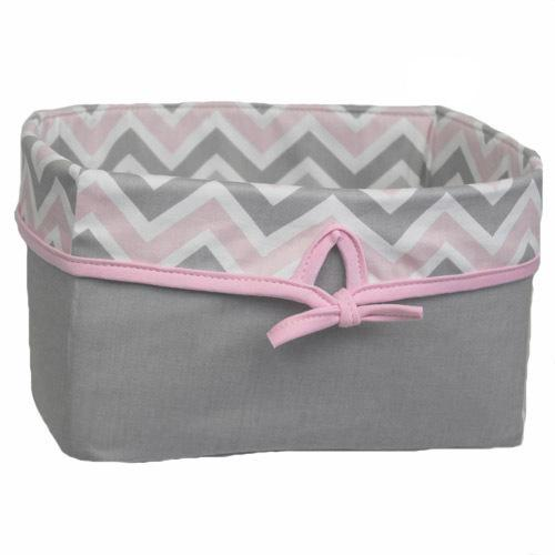 pink grey white chevron basket with pink bow