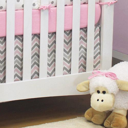 grey pink and white chevron crib skirt