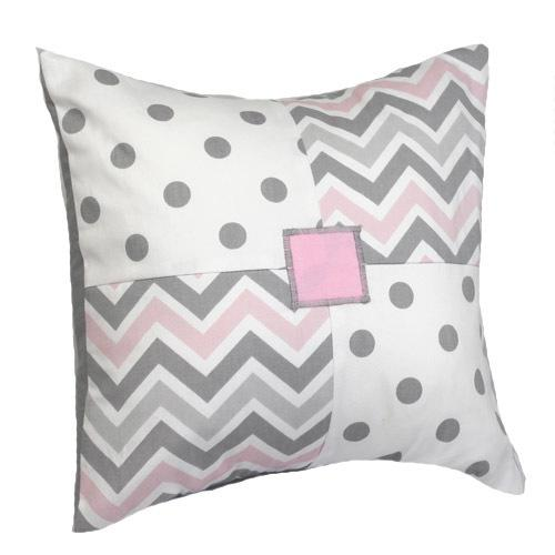 pink grey and white patchwork pillow