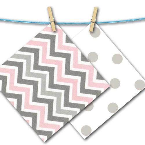 grey pink and white chevron and polka dot fabric swatches