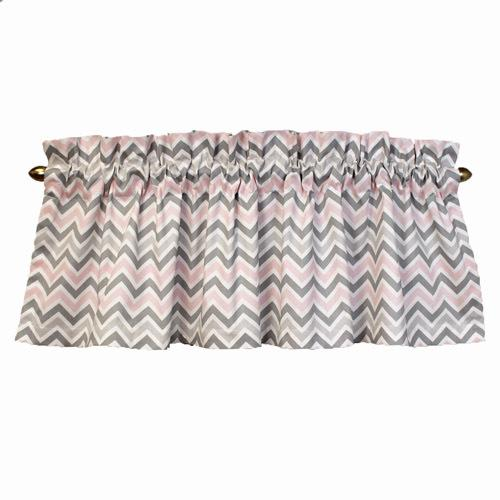 pink grey and white chevron valance