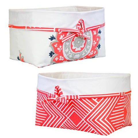 coral orange and white large paisley and maze soft nursery baskets