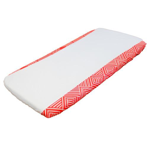 coral orange and white maze change pad cover with white knit centre