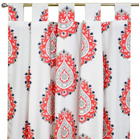 coral orange and white large paisley drapes