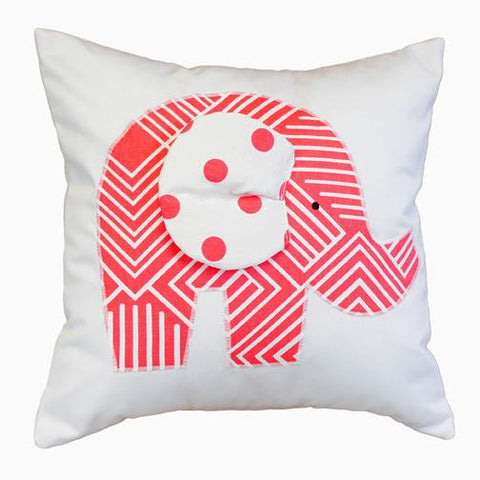 coral orange and white maze and polka dot applique elephant pillow