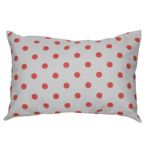 coral orange and white large polka dot lumbar pillow