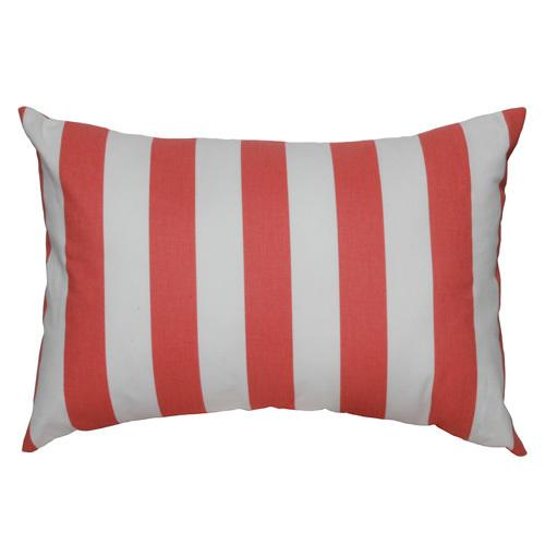 coral orange and white large large stripe lumbar pillow