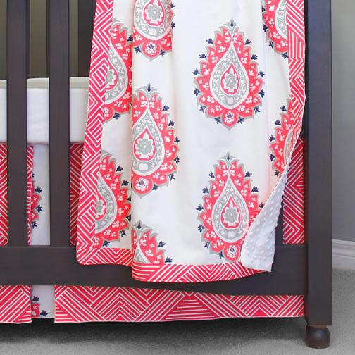 coral orange and white large paisley and maze 3 piece crib set with blanket, white sheet, maze skirt on grey crib