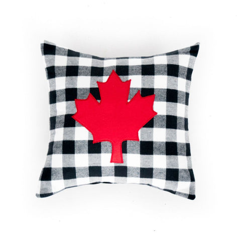 black and white plaid maple leaf pillow