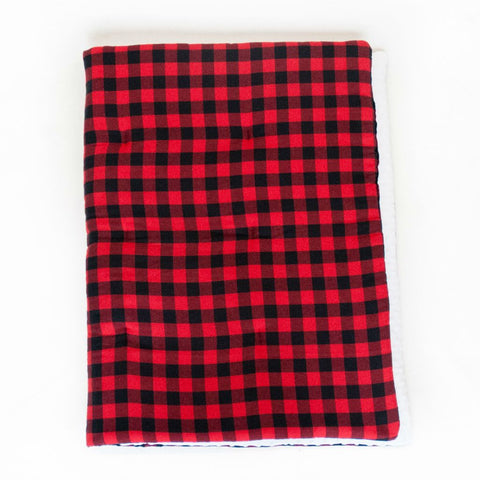 black and red plaid play blanket