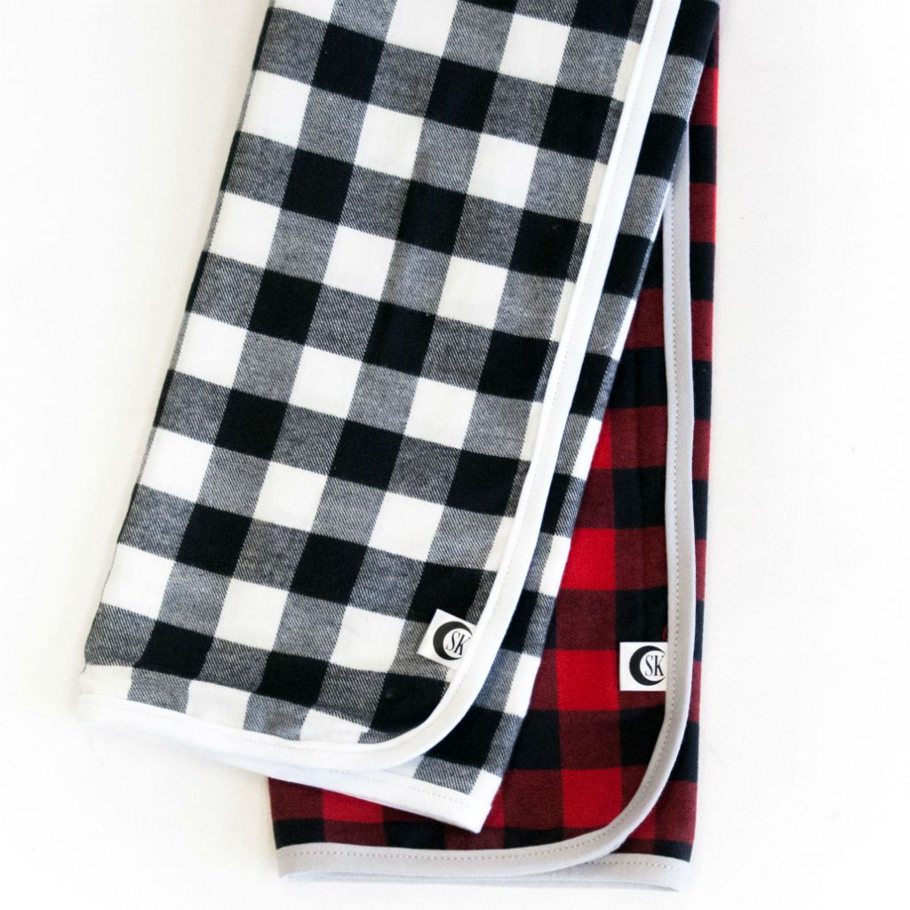 black and red and white plaid swaddle blankets