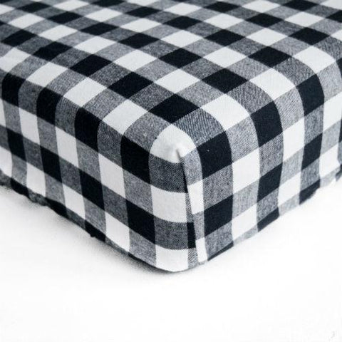 black and white plaid crib sheet