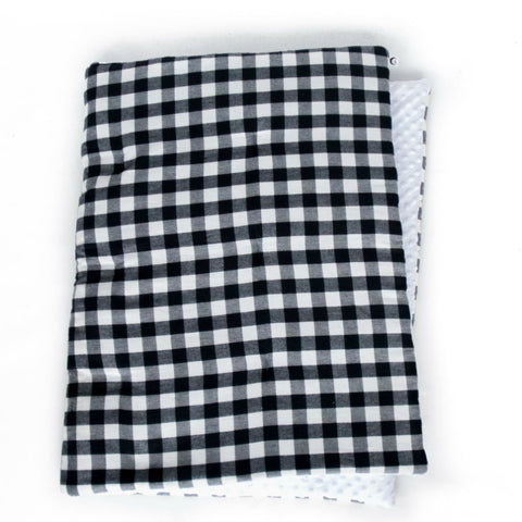 black and white plaid play blanket
