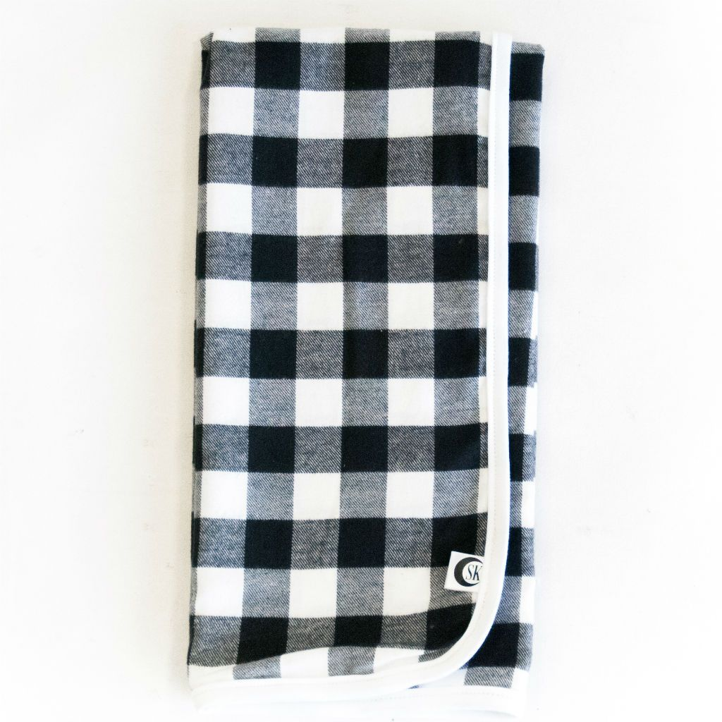 black and white plaid swaddle blanket