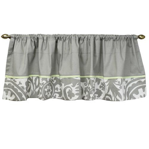 grey and white floral panel valance